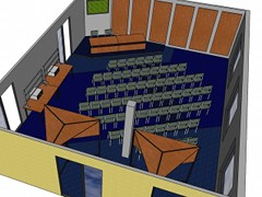 An 3D design of a classroom for the company Modderkolk.